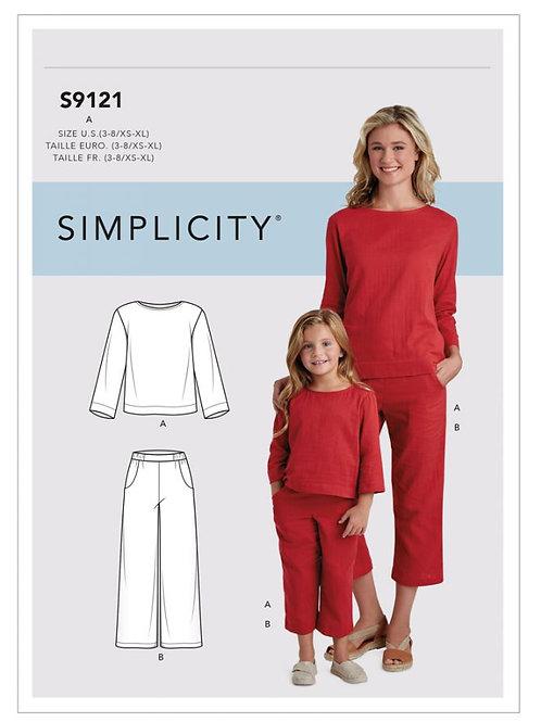 Simplicity 9121 Shirt und Hose für Kind und Mutti