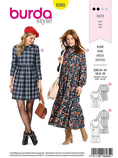 Burda 6265 Kleid mit Bubikragen im Retro - Stil