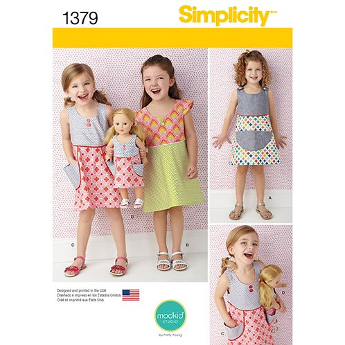Simplicity 1379 Kinderkleidchen & Puppenkleid