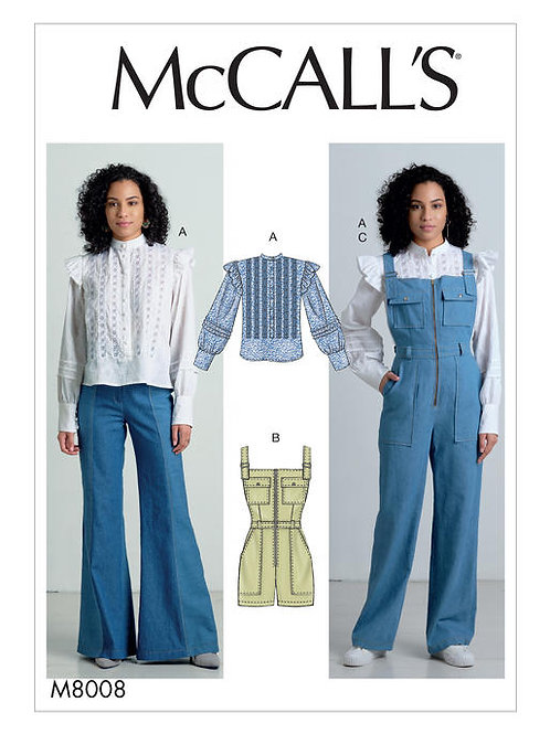 McCall's 8008 langer, kurzer Overall & Bluse