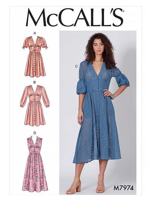 McCall's 7974 Kleid mit Miederteil & vorderer Knopfleiste