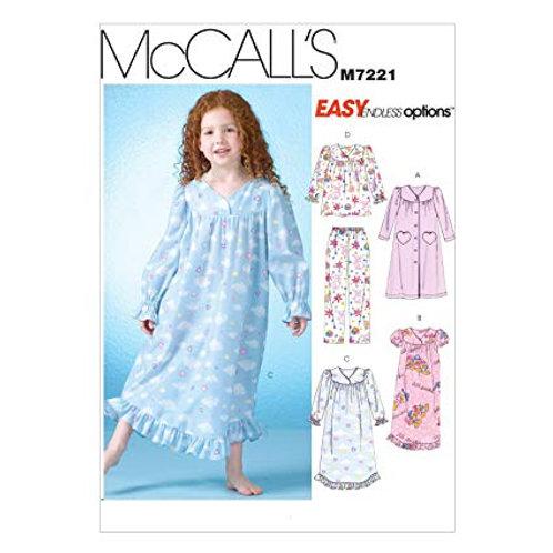 McCall`s M7221 Mädchen-Nachthemd und Anzug
