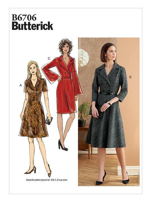 Butterick B6706 geknöpftes Kleid mit Varianten