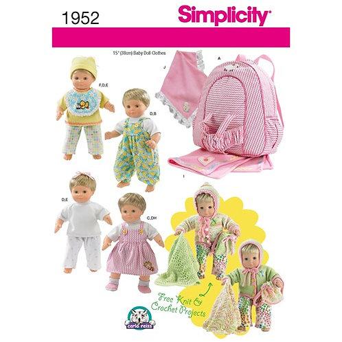 Simplicity 1952 Puppenkleider & Zubehör