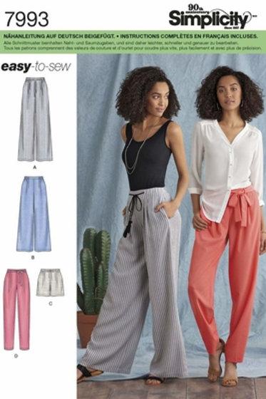 Simplicity 7993 Hose & Shorts mit Bund und Gürtel