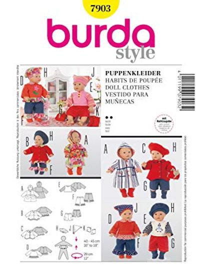 Burda 7903 Puppenkleider für 40 - 45 cm Größe