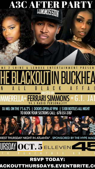 """A3C Afterparty """"The BlackOut"""" In Buckhead Thurs. Oct 5th"""