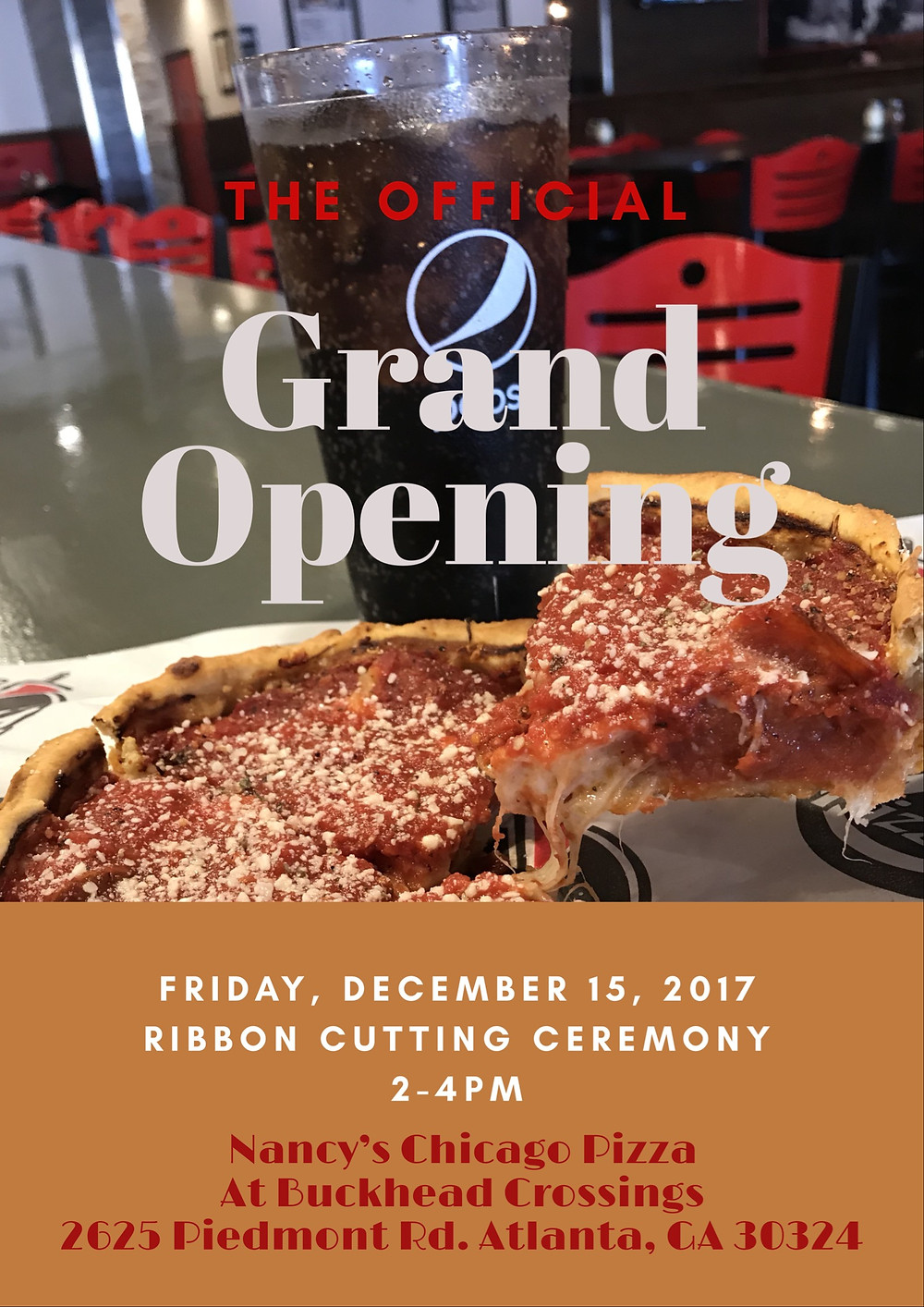 You're Invited to the Grand Opening of Nancy's Chicago Pizza in Buckhead