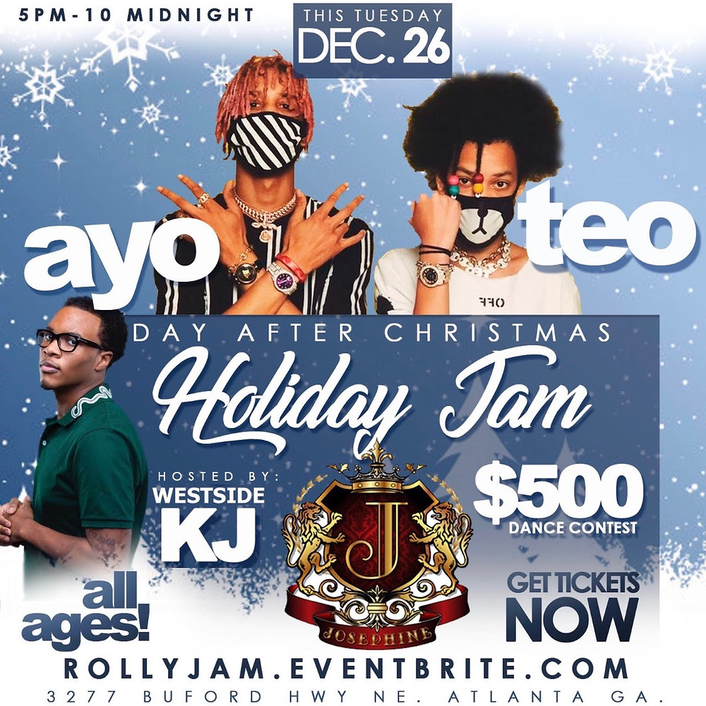"""AYO & TEO DAY AFTER CHRISTMAS """"ROLLY"""" JAM TUESDAY DECEMBER 26TH BRING YOUR KIDS"""