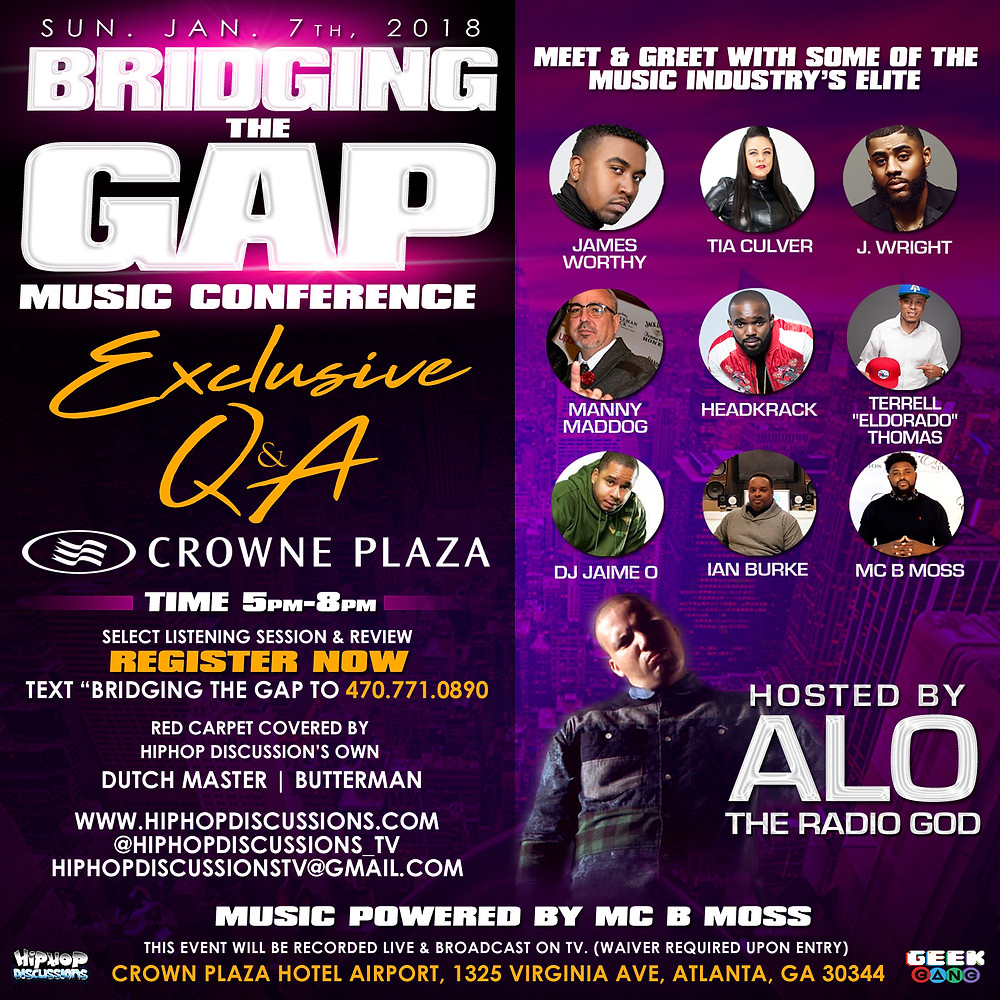 "Jan 7th Bridging The Gap Music Conference (To Register Text ""Bridging The Gap"" to (470) 771-0890)"