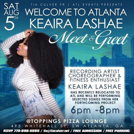 WELCOME TO ATLANTA CELEBRATION FOR RECORDING ARTIST KEAIRA LASHAE @TOPPINGS PIZZA LOUNGE
