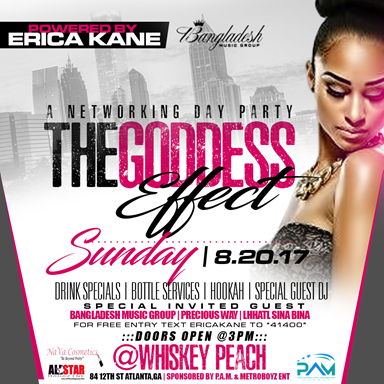 The Goddess Effect Sunday Aug 20th at Whiskey Peach