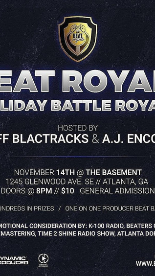 "Tonight! Nov 14th ""Beat Royale"" Beat Battle & Open Mic Atlanta"