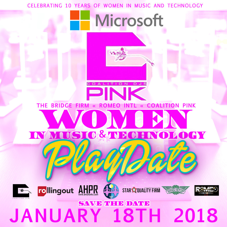 Coalition DJ's Pink and The Bridge Firm invites you to sponsor our Women In Music & Technology Play Date @ Microsoft Lennox Square Mall