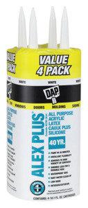 DAP ALEX PLUS 18136 Acrylic Latex Caulk with Silicone, White, -20 to 180 deg F,