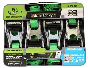 SmartStrap 345 Tie-Down, 1 in W, 14 ft L, Polyester, Green, 500 lb, S-Hook End F