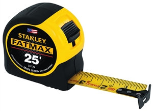 STANLEY 33-725 Classic Tape, 25 ft L Blade, 1-1/4 in W Blade, Black/Yellow Case