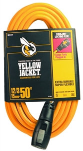 CCI 2737 Extension Cord, 12 AWG Cable, 50 ft L, 15 A, 125 V, Yellow Jacket