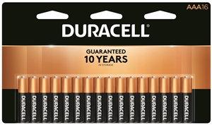DURACELL MN2400B16 Alkaline Battery, 1.5 V Battery, AAA Battery, Manganese Dioxi