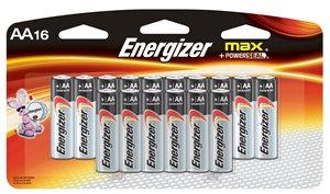 Energizer E91 Series E91LP-16 Alkaline Battery, AA Battery, Zinc, Manganese Diox