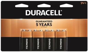 DURACELL 41333935645 Alkaline Battery, 9 V Battery, 9 V Battery, Manganese Dioxi