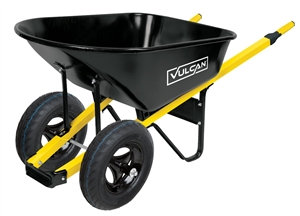 Vulcan 34885 Wheelbarrow, 6 cu-ft Volume, Steel, 2-Wheel