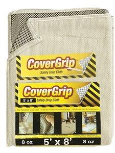 CoverGrip 005808 Drop Cloth, 8 ft L, 5 ft W, Rubber