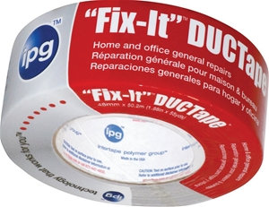 IPG 6900 Duct Tape, 55 yd L, 1.88 in W, Poly-Coated Cloth Backing, Silver