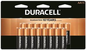 DURACELL COPPERTOP MN1500 Series MN1500B16 Alkaline Battery, 1.5 V Battery, AA B