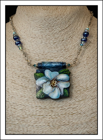 """Daisy #2 - Blue Daisy""  With blue crystal beads (02-023)"
