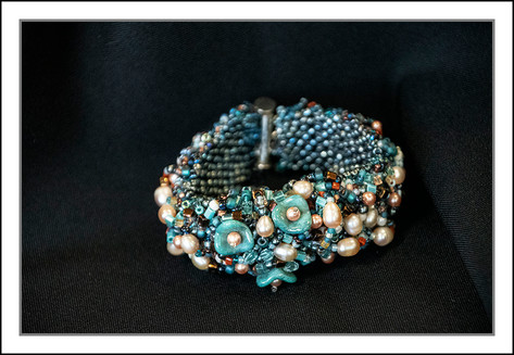 """Turquoise Tulip and Pearls""  Hand-beaded Bracelet  (03-012)"