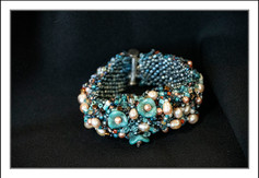 """""""Turquoise Tulip and Pearls""""  Hand-beaded Bracelet  (03-012)"""