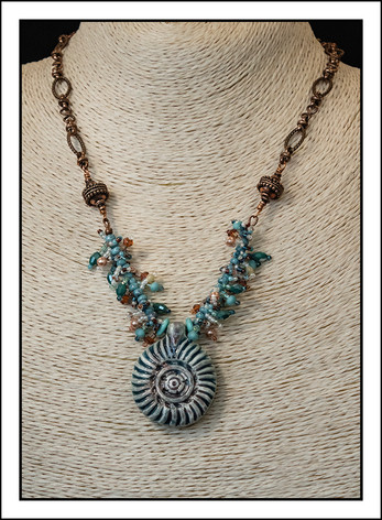 """Ceramic Shell""  Beaded Necklace  with Copper Chain (03-006)"