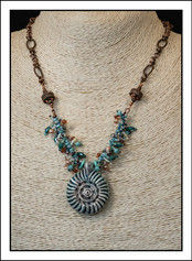 """""""Ceramic Shell""""  Beaded Necklace  with Copper Chain (03-006)"""