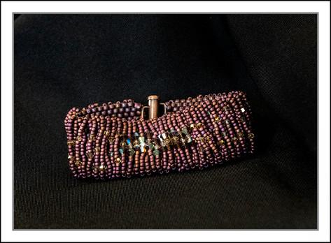 """""""Dusty Rose""""  Beaded Bracelet w/Swarovski Crystals  (03-009)"""