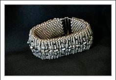 """""""Matte Grey""""  Beaded Bracelet w/Swarovski Crystals  (03-010)"""