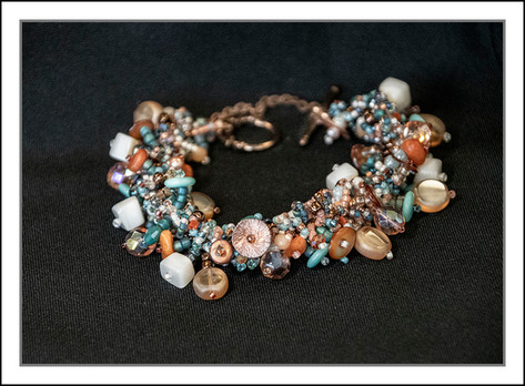"""Turquoise and Peach""  Hand-beaded Bracelet  (03-011)"