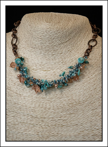 """Turquoise and Peach""  Beaded Necklace  with Copper Chain (03-007)"