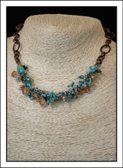 """""""Turquoise and Peach""""  Beaded Necklace  with Copper Chain (03-007)"""