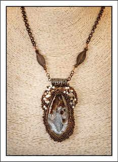 """""""Raised Texture Bead Embroidery"""" Pendant  with Copper Chain"""