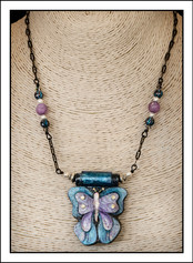 """""""Butterfly #1 - Abstract Art"""" Necklace (02-008)"""