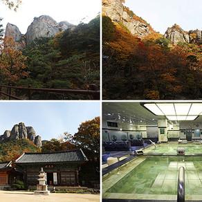 แช่น้ำพุร้อนท่ามกลางบรรยากาศใบไม้เปลี่ยนสีที่อุทยานแห่งชาติเขาจูวังซาน