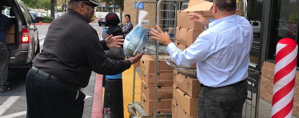 We were blessed again this year by City Councilman Michael Tahan donating Turkeys to Community Baptist church of Fontana.
