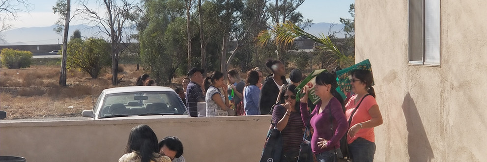 Community Baptist Church passing out turkeys at our food pantry. Turkeys are given to us from the City of Fontana.