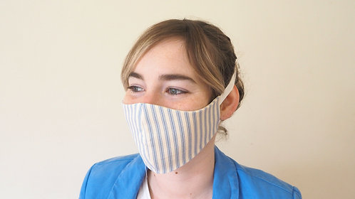 Light blue ticking face mask
