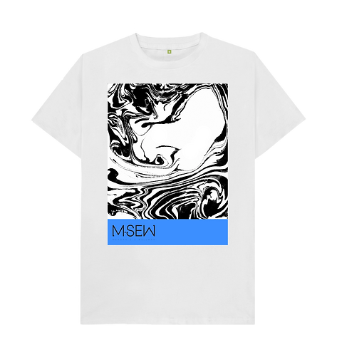Large waves print shirt - White with blue