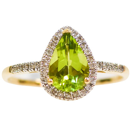 14K Yellow Gold Pear Cut Peridot Ring with Diamond Halo