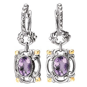 Sterling Silver Amethyst with 18K Yellow Gold Accent Earrings