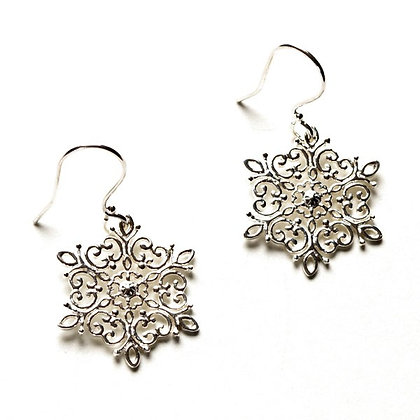 Southern Gates Collection Sterling Silver Snowflake Earrings