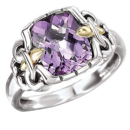 Sterling Silver Amethyst Ring with 18K Yellow Gold Accents